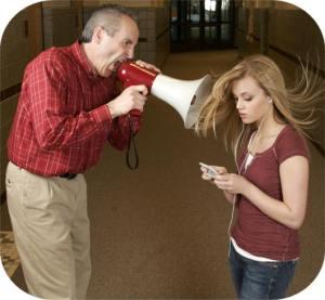 megaphone shouting to teens