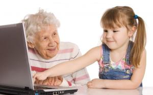 grandparent learning from grandson